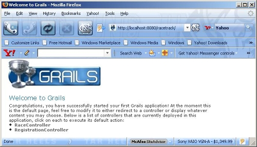 Figure 4 - Index page before Grails-Acegi Plugin