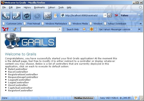 Figure 9 - Controllers available after grails-acegi-plugin installation