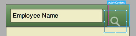 デザインモードでActionBarにボタンをドロップするところ