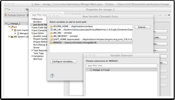 Eclipse, MongoDB, Java