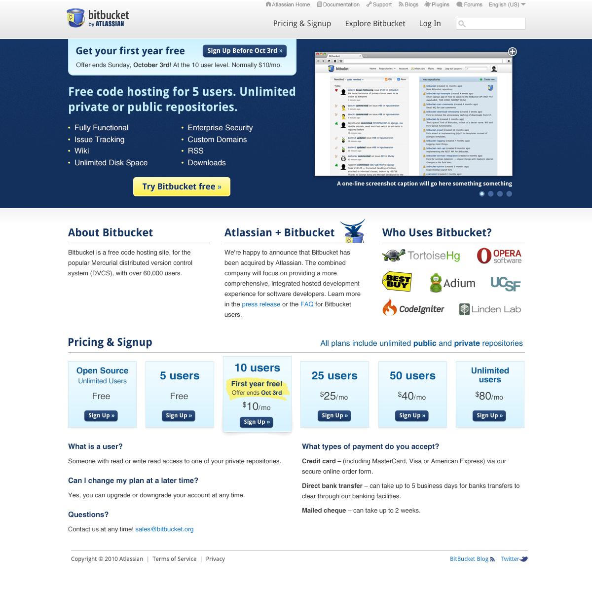 Atlassian aquires Bitbucket org
