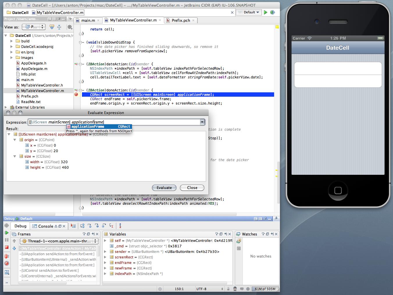appCode Debug View