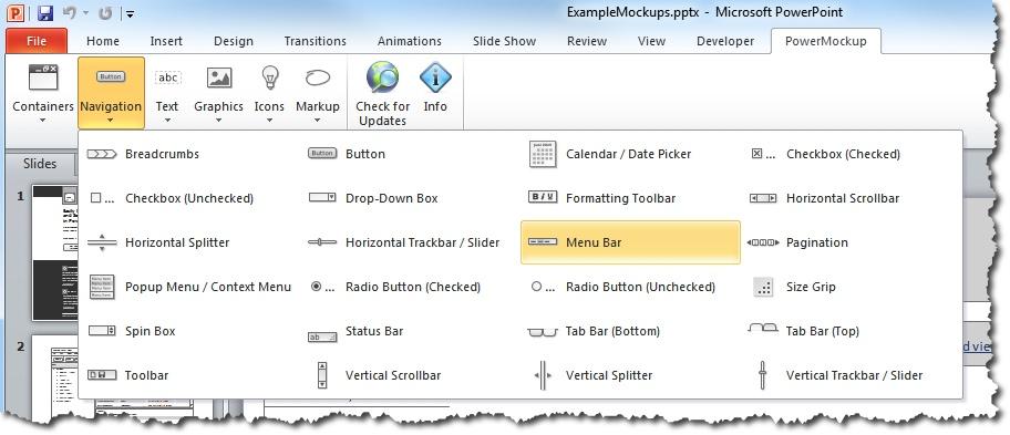 PowerMockups Navigation Shapes