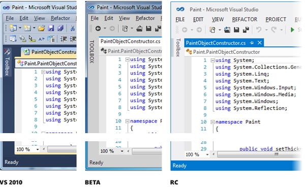 Thumbnail comparison of VS2010, VS11 Beta, and VS11 RC