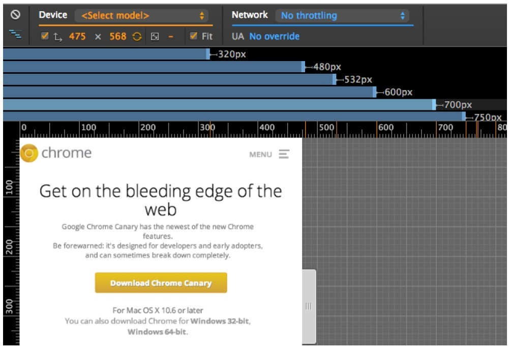 New Device Mode in Google Chrome