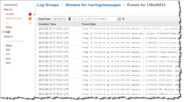 Amazon CloudWatch Logs console