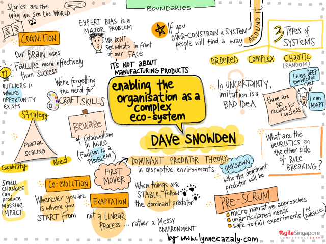 Infographic of Dave Snowden talk
