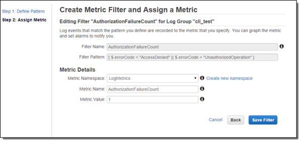 Amazon CloudWatch Logs Metric Filter