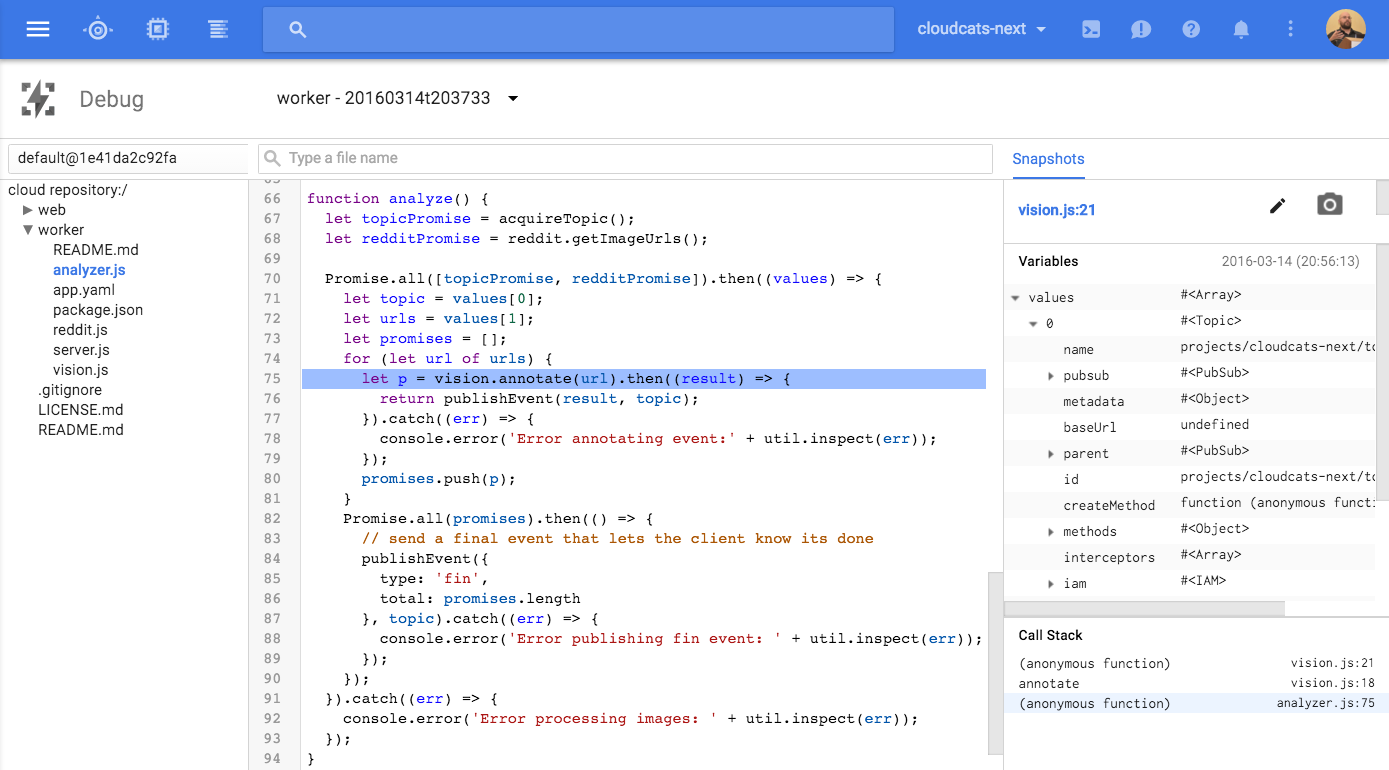 Screenshot of the Google Cloud Debugger for node.js