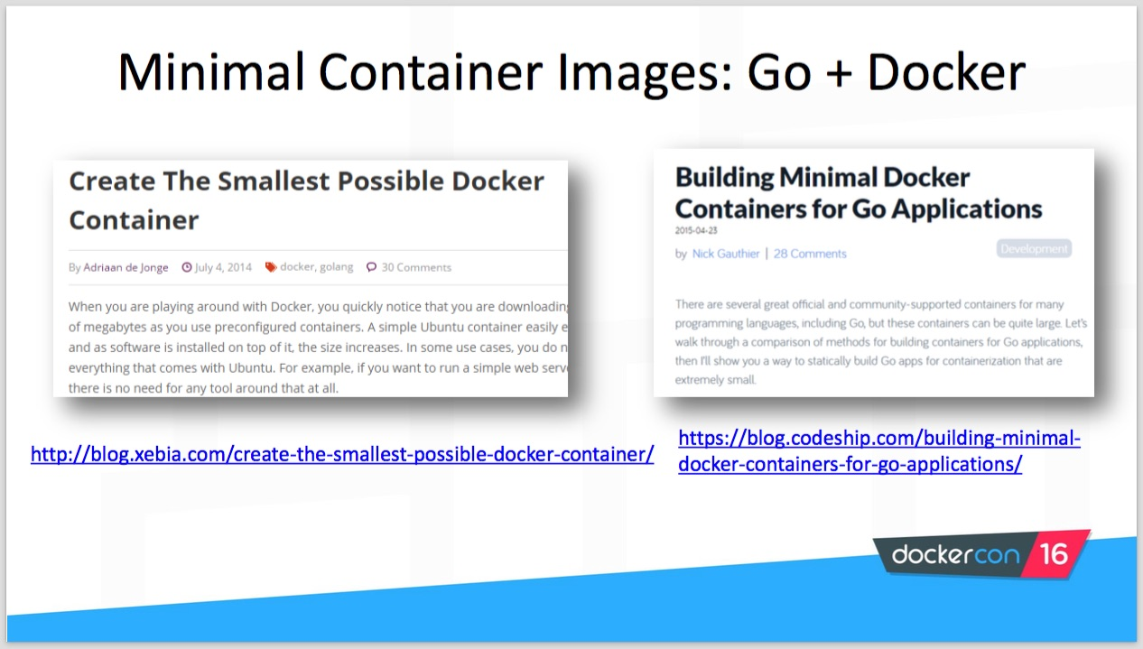 Creating minimal container images with Golang