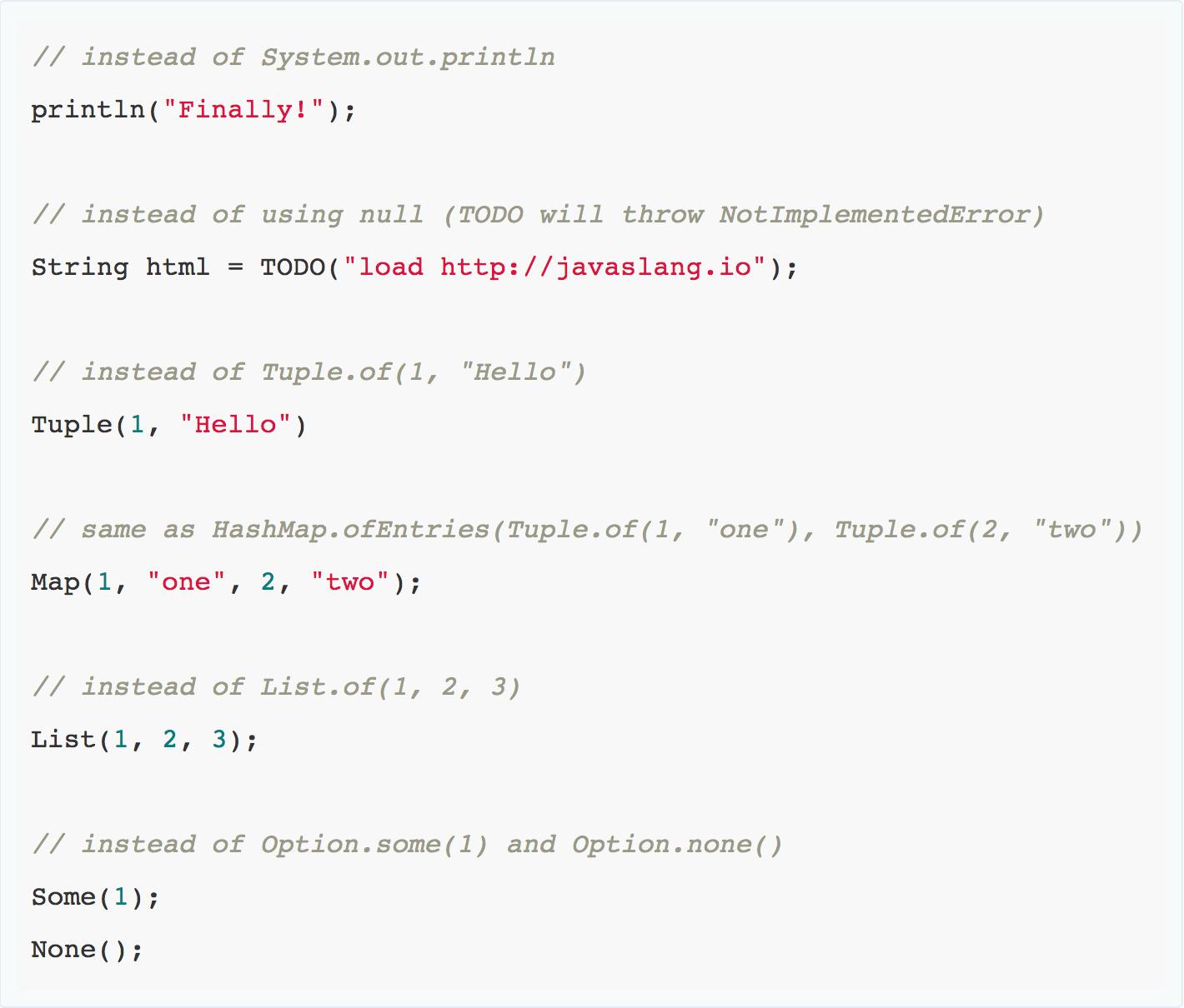 Javaslang 2.1.0 examples