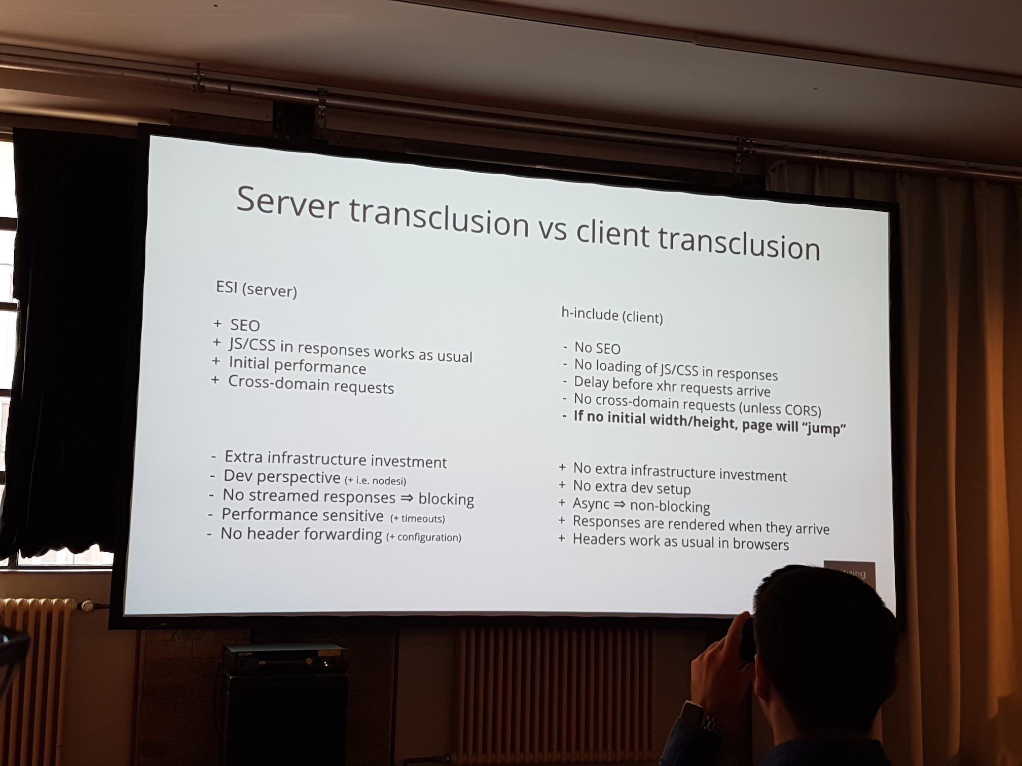 Server transclusion vs client transclusion
