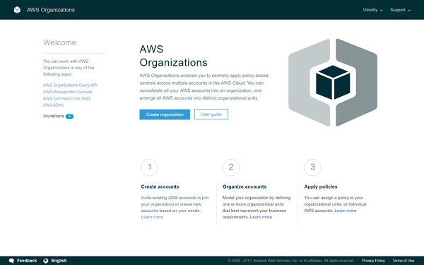 AWS Organizations onboarding screen