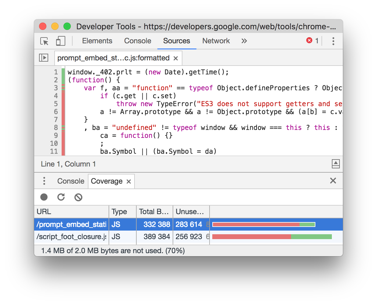 Screenshot of the DevTools coverage profiler showing inline tips on what portions of the actual code are in use or not.