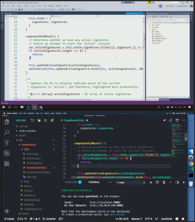 Visual Studio Live Share demo dual screenshot