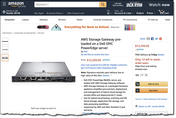 Amazon Announces AWS Storage Gateway Hardware Appliance
