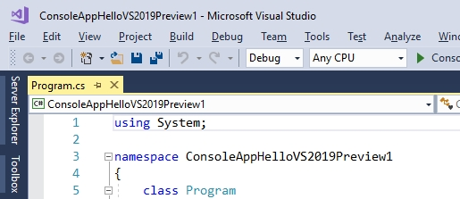 First Look at Visual Studio 2019 Preview 1