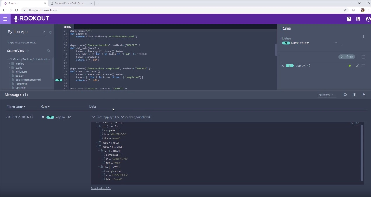 Debugging microservices with Rookout.