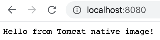Hello from Tomcat native image!