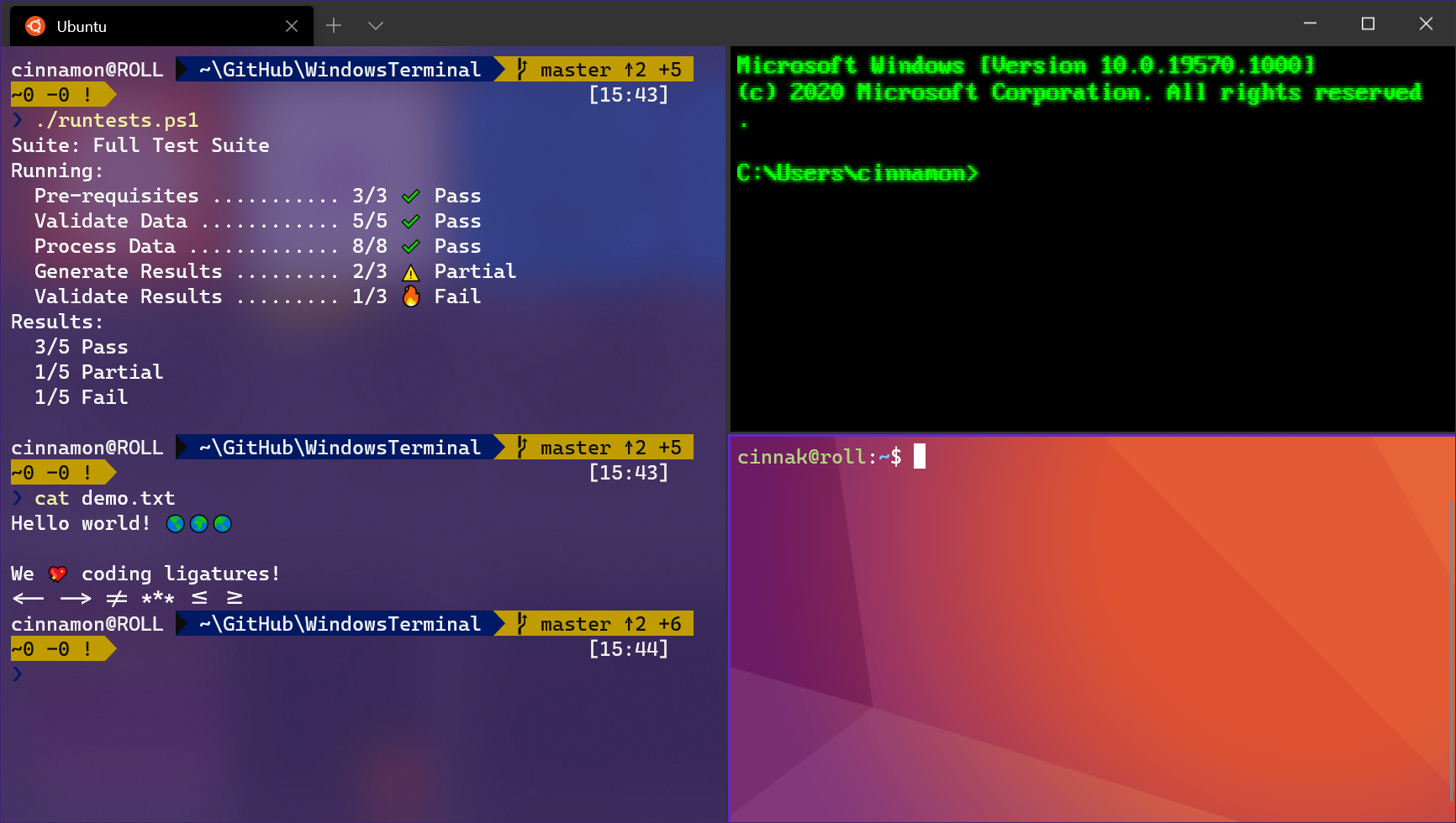 Windows Terminal showing multiple panes supporting different command line applications