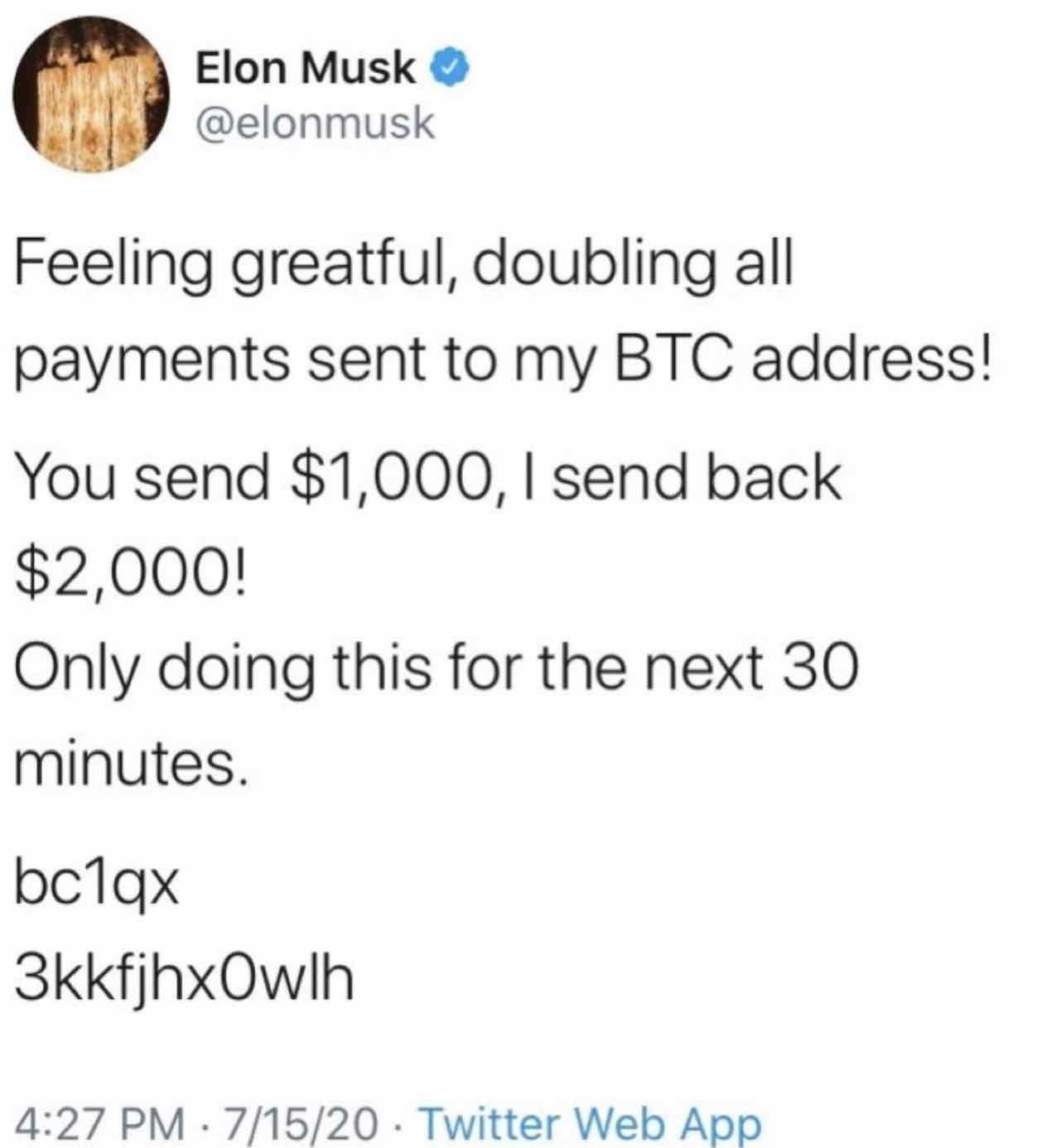 Hacked tweet from Elon Musk