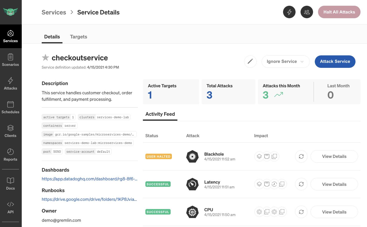 Gremlin service details interface