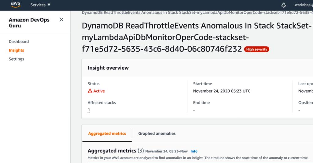 Amazon DevOps Guruによる運用障害通知の例