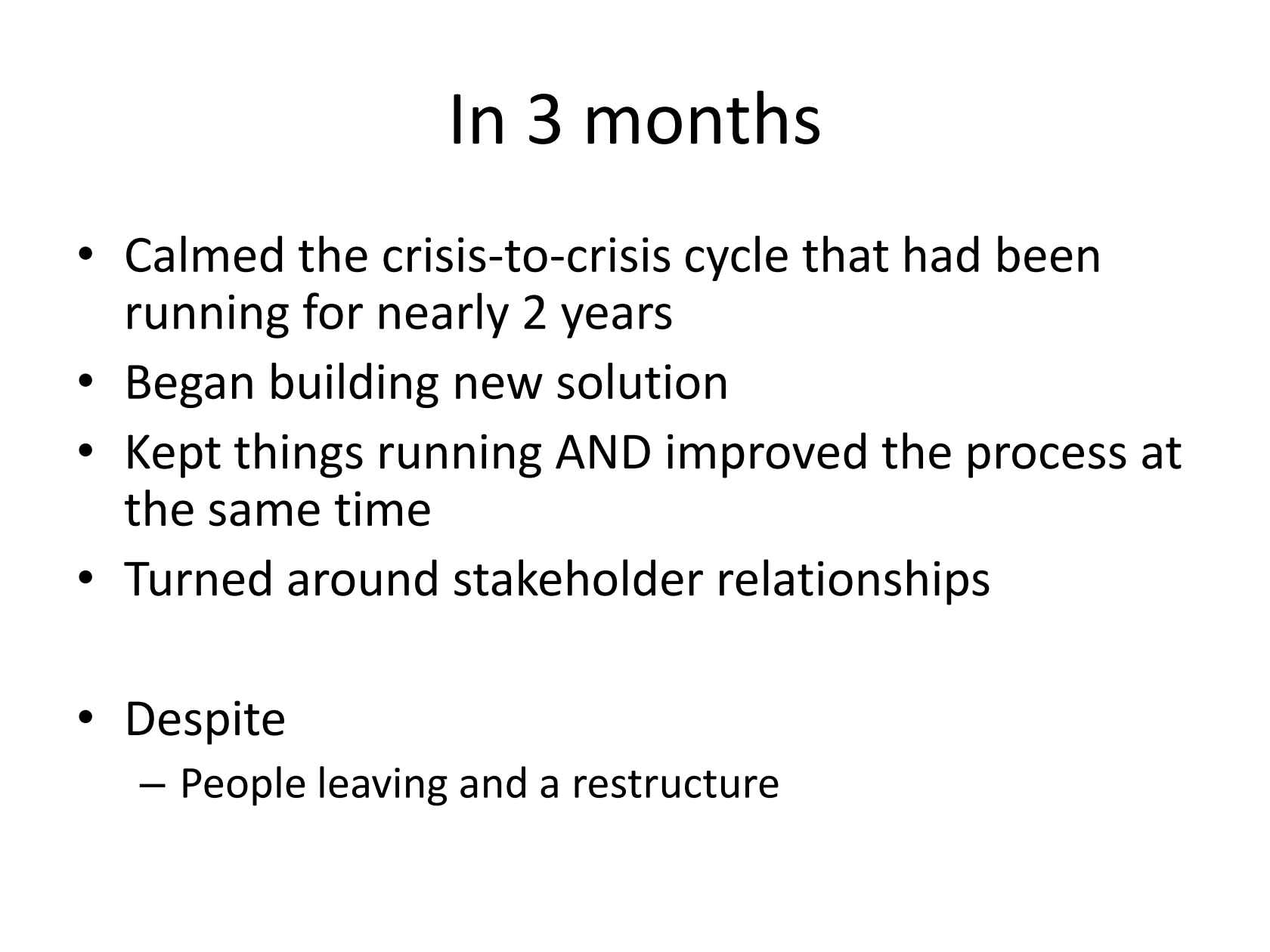 Climbing Out of a Crisis Loop: How a Critical BBC Back-end