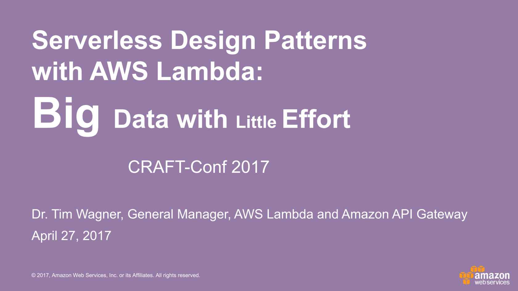 Serverless Design Patterns with AWS Lambda: Big Data with