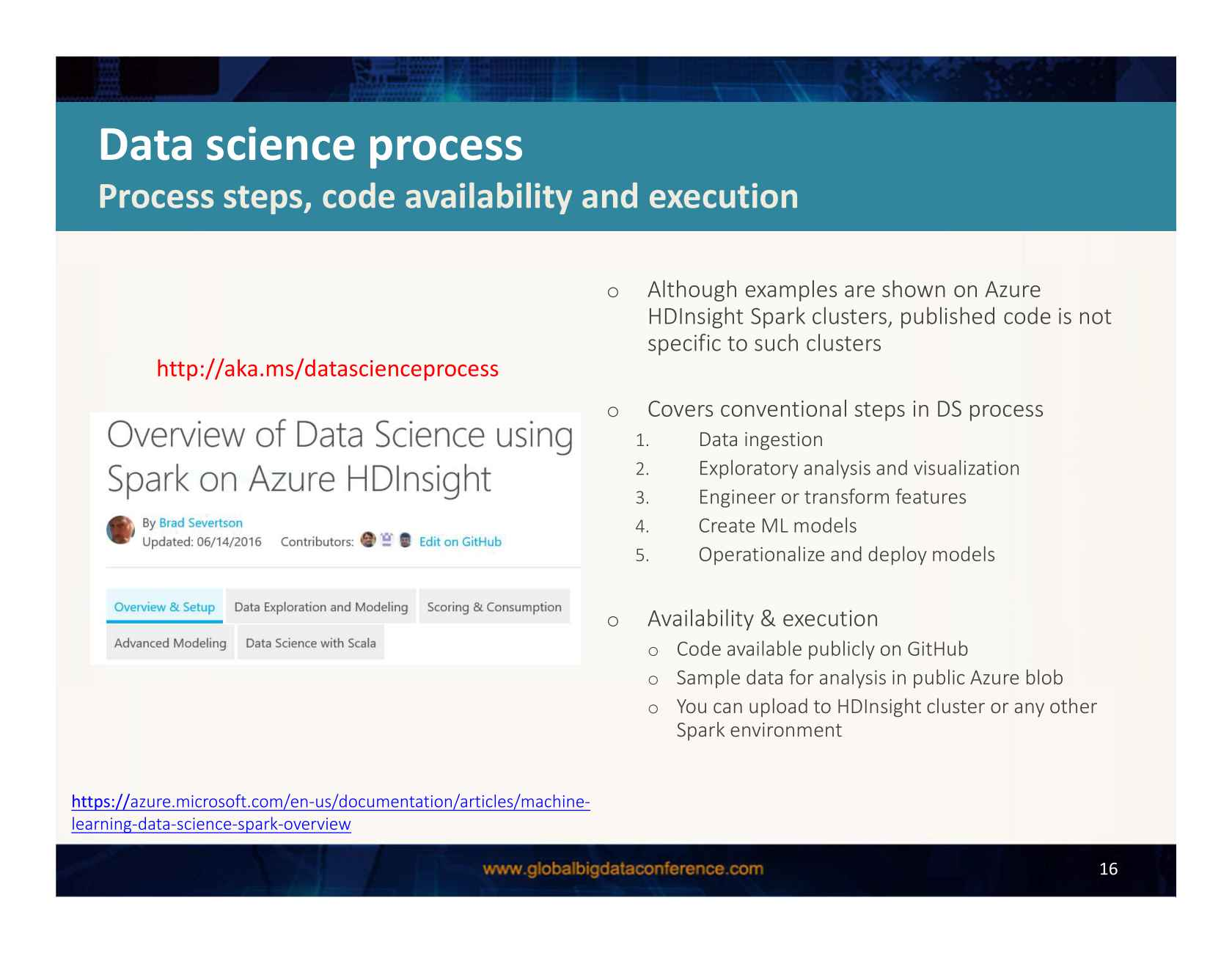 Machine Learning and End-to-End Data Analysis Processes in Spark