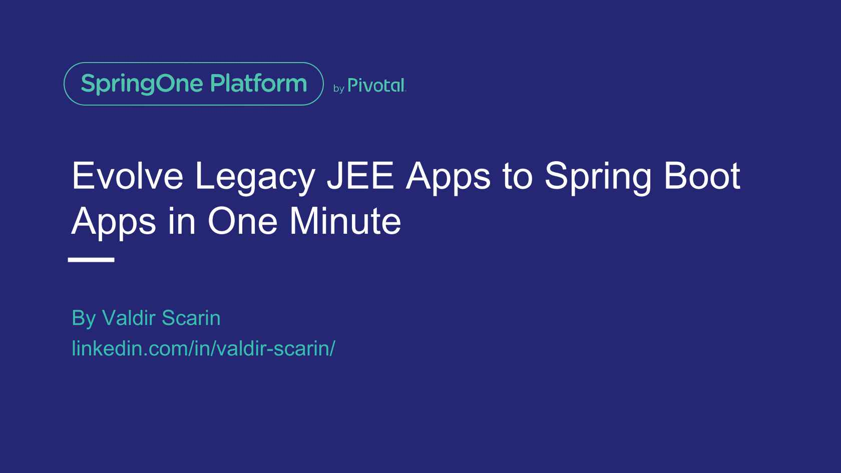 Evolve Legacy Java EE Apps to Spring Boot Apps in One Minute