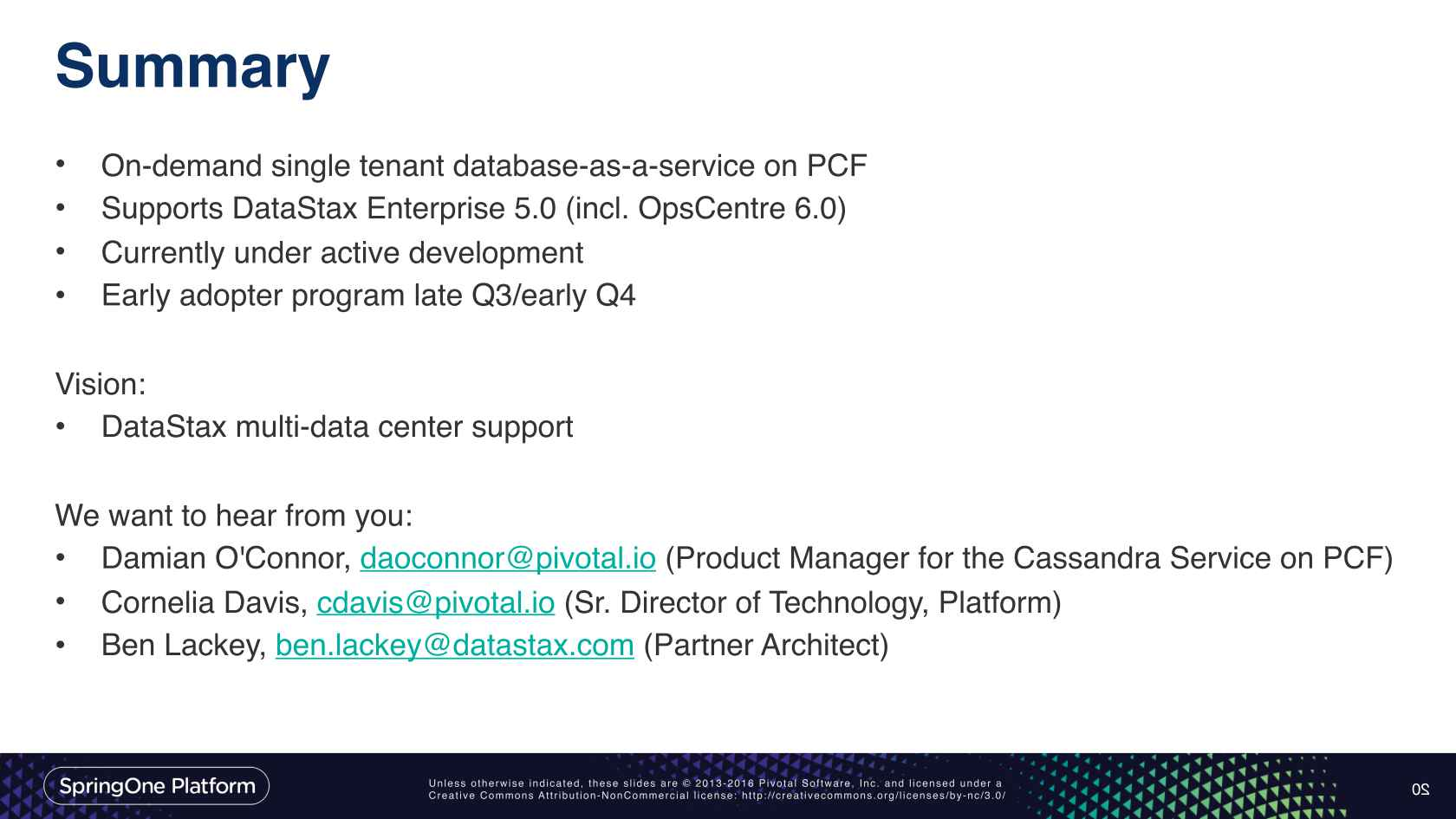 Cassandra and DataStax Enterprise on PCF