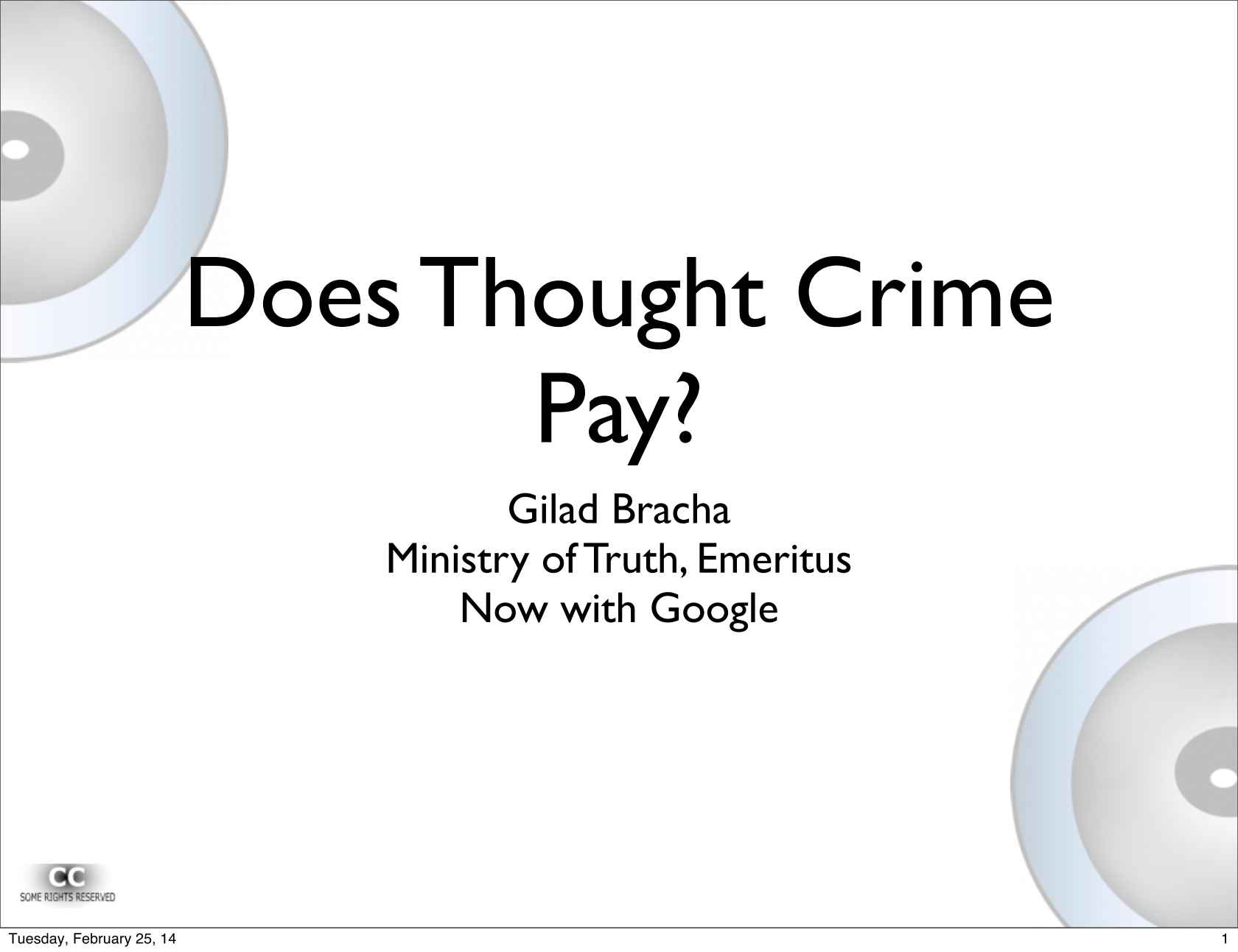 Onward! — Does Thought Crime Pay?