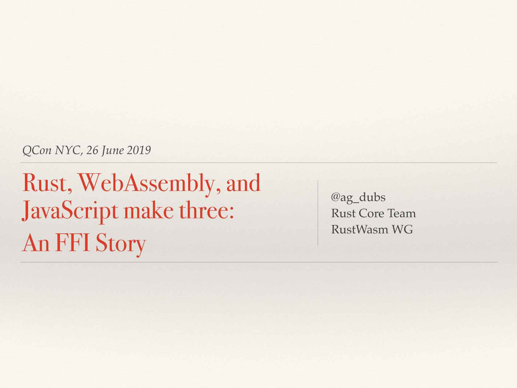 Rust, WebAssembly, and Javascript Make Three: An FFI Story